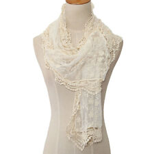 Fashion Stylish Women Long Scarf Embroidery Floral Crochet Mesh Lace Trim Shawl