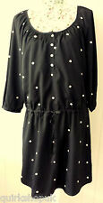 CLEMENTS RIBEIRO black dress with drawstring waist & mirrors dress M 12 NEW £146