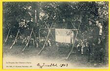 cpa Dos 1900 CHAMBÉRY Le DRAPEAU des CHASSEURS ALPINS 13e BCA Fusils en Faisceau