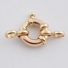 8MM 14k Solid Yellow Gold Designer Italy Spring Ring Clasp CLOSED