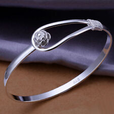 Xmas Wholesale Solid 925silver Jewelry Silver Rose Cuff Bracelet Bangle Link+Box