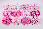 Lot 12pc 3inch baby Girl Boutique Pink Printed Ribbon Hair Bows Alligator Clip