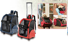 Pet Carrier Dog Cat Rolling BackPack Travel Airline Wheel Luggage Bag Red US