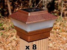 8 Solar Fence Cap Post Lights Copper Color - for 4x4 Wood Posts Only - PL244