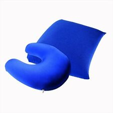 2 In 1 Travel Pillow Cushion Head Neck Support Perfect For Long Journeys Blue