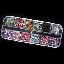Lots 1200X 12 Colors Crystal Acrylic Nail Art Studs Craft DIY Accessories + Box