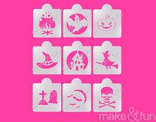 9 pcs Halloween Stencil, Pumpkin Cookie Stencil, Airbrush Stencil, Schablone