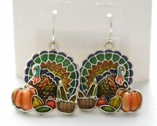 Thanksgiving Turkey w Pumpkin / Fish-hook Earrings / Silver-tone / Fall Basket
