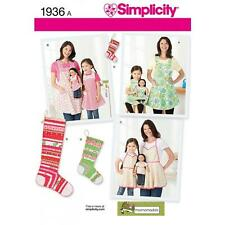SIMPLICITY SEWING PATTERN CHILD'S & MISSES' APRONS STOCKING ORNMENTS  1936