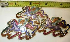"3 Vintage Pin Brooch Horse Poney Cloisonnes Gold Silver Enamel 2"" Lot"