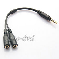 Phone 3.5mm AUX Audio To Mic Splitter Cable Earphone Adapter Fit For iPhone