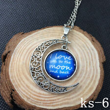 2015 New Handmade I Love You To The Moon And Back Necklace Silver plated ks-06!