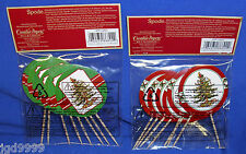 Lot of 2 Packages Spode Christmas Tree Cupcake Picks 16 Pieces NIP Free Shipping