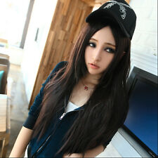 "24"" Dark Brown Long Straight like Real Hair full Wig+ Gift Wigs Mesh Cap"