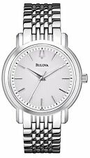 Bulova Men's 96A150 Silver Tone White Dial Stainless Steel Watch