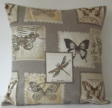 """Ashley Wilde Postage Natural Butterfly DragonflyTaupe Beige 16"""" Cushion Cover"""