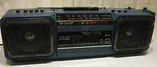 Sharp WQ-T282BL AM FM Twin Cassette Stereo Boombox Radio Blue Tested Works Japan
