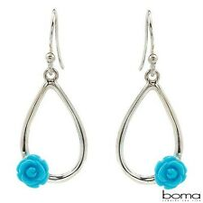 BOMA 925 STERLING SILVER AND BLUE CREATED TURQUOISE HOOK DANGLE EARRINGS