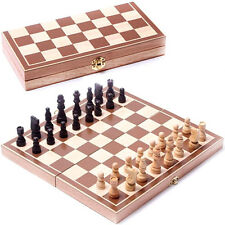 Vintage Wooden Pieces Chess Set Folding Board Box Wood Hand Carved Kids New
