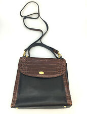Vintage Bally Crocodile Satchel Handbag Leather Black Brown Vintage Designer