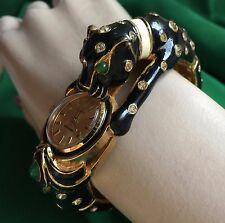 Vintage Joseph Mazer Black Enamel Rhinestone Panther Bangle Women Watch 17 Jewel