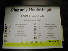 Pinguely-Haulotte STAR 8-22J LIFT PARTS MANUAL BOOK CATALOG ROTARY MAST LIST