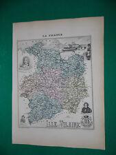 ILLE ET VILAINE CARTE ATLAS MIGEON Edition 1885, Carte + fiche descriptive