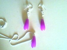 Handcrafted Purple Jade Teardrop Sterling Silver Necklace and Earrings