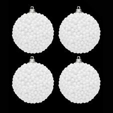 4 Pack 80mm White Snowballs Baubles Christmas Tree Decoration
