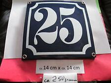 Emaille-Hausnummer Nr. 25 weisse Zahl auf blauem Hintergrund 14 cm x 14 cm .....