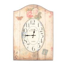 Shabby Chic French Vintage Floral Roses Large Wooden Wall Clock RRP£50