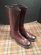 "J. Crew Womens Brown Leather And Elastic Boots Tall 13"" Sz 8.5 Nice"