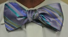 "NEW! Hand Made. 100% Silk. VIOLET TURQUOISE Stripes SELF TIE Bow Tie. 2.5"" Wide"