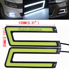 2x U Shape White COB 6000K Led Daytime Running Light DRL Headlight Fog Lamp