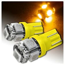 2x Amber LED T10 194 2825 168 912 5-SMD Wedge Map Dome License Plate Light Bulbs