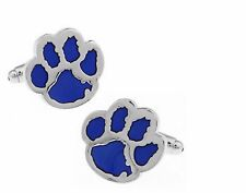Gift Bag+ Quality Paw cuff links Silver Plated Cat Dog Pet Cufflinks Blue Animal