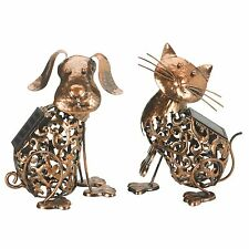 Garden Solar Powered Metal CAT and DOG Decorative Silhouette Scroll LED Light
