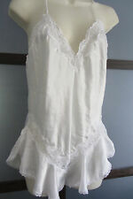 Vintage WOOLITE LINGERIE White Teddy Snap Crotch Lace Satin M Tap Pants