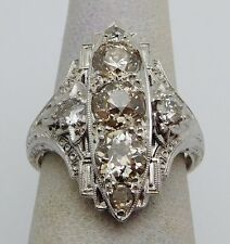 VINTAGE Solid 18k White Gold / Diamonds Deco Ladies Ring * 2.50 CT TWT *