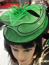 Wedding Party Carnival Races Feather Millinery Fascinator lady Hat Green+Black