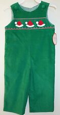 NWT Southern Tots Green Corduroy Smocked Santa Hats Romper / Longall Size 6M