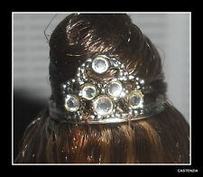 CROWN BARBIE DOLL AUDREY HEPBURN MINI FAUX JEWEL SILVER METAL TIARA ACCESSORY