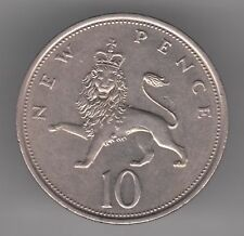United Kingdom 10p Pence 1973 Copper-Nickel Coin - Lion Passant