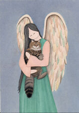 Maine Coon cat with angel / Lynch signed folk art print