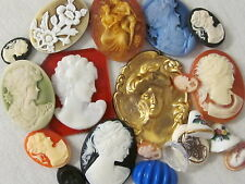 CAMEOS RESIN BRASS ACRYLIC VINTAGE HUGE LOT JEWELRY FINDINGS BLANKS REPAIR CRAFT