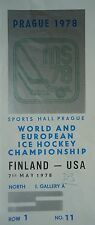 TICKET Eishockey WM 7.5.1978 Finnland - USA in Prag