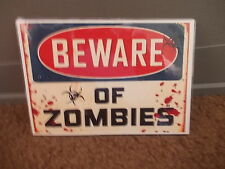 ANOTHER FUNNY A5 LAMINATED BEWARE OF  ZOMBIES AHEAD  WARNING SIGN