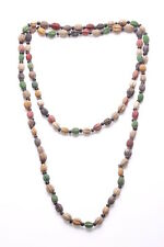 Eco- Friendly Multi Colour Seeds & Black Plastic Beads Long Necklace(Zx184)