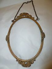 Antique Victorian BRASS flowers barbols Picture Frame hanging