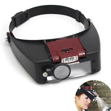 Headband Headset LED Head Lamp Light Jeweler Magnifier Magnifying Glass Loupe .